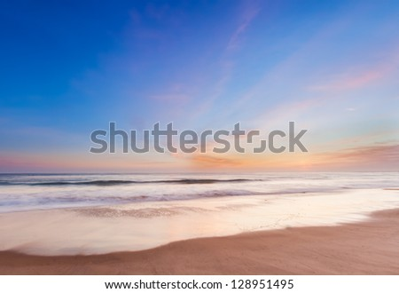 Beautiful sunset in southern california beach - stock photo