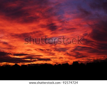 Beautiful sunset in the city - stock photo