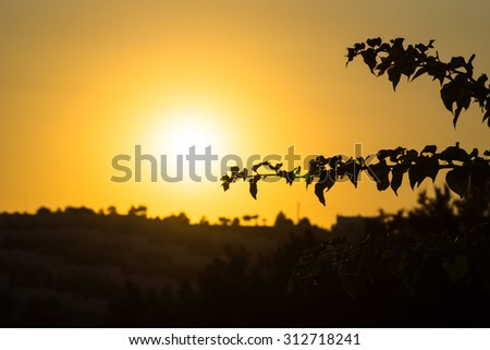 Beautiful sunset in the hilly landscape
