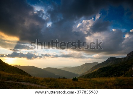 beautiful sunset in the mountains, landscape and clouds landscape. Big size photo - stock photo