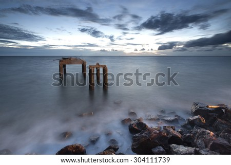 Beautiful sunset in the sea of. Thailand  - stock photo
