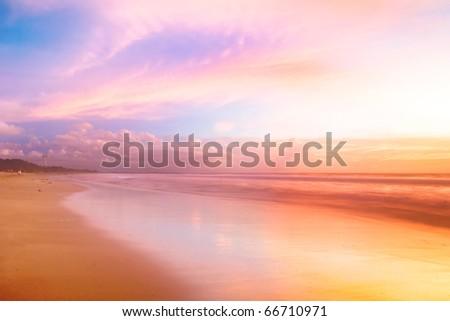 Beautiful sunset in the sea. Thailand - stock photo