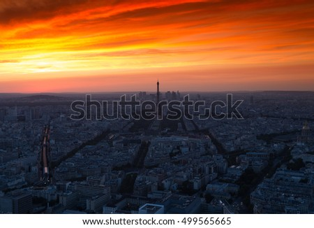 Beautiful sunset in the summer of 2016 - Paris, France