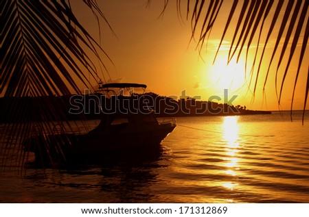 Beautiful sunset in the West End, Roatan, Honduras - stock photo