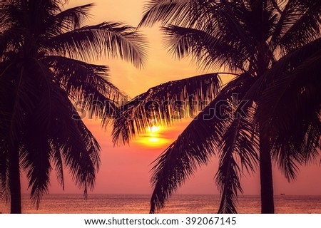 Beautiful sunset Karon beach in Phuket, Thailand. Image with selective focus and toning - stock photo