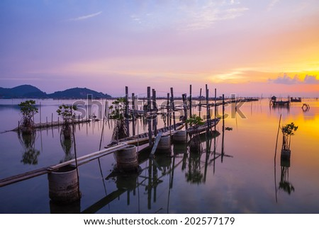 Beautiful sunset Koh yo island in Songkha, Thailand - stock photo