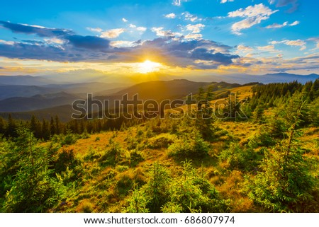 Beautiful Sunset Mountain Landscape Carpathians