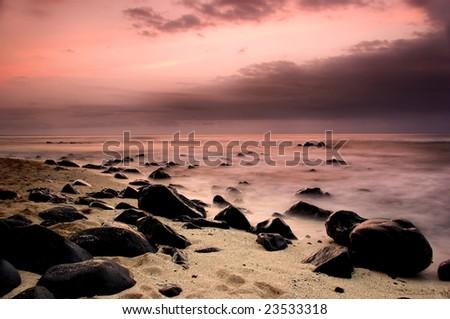 Beautiful sunset of an amazing beach in Sao Tome - Equator - stock photo