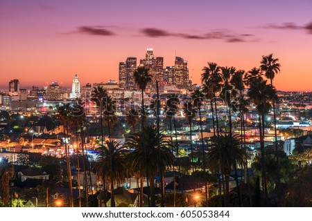 Beautiful sunset los angeles downtown skyline stock photo for Beautiful in los angeles