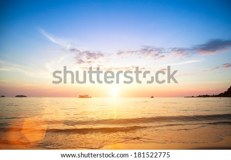 Beautiful sunset of sea beach. - stock photo