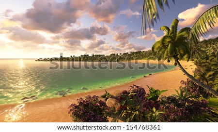 Beautiful sunset on a tropical island - stock photo