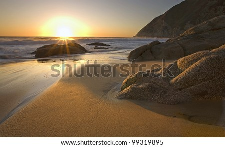 Beautiful sunset on beach near Pacifica, California - stock photo