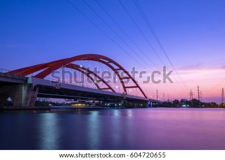 Beautiful sunset on Binh Loi Bridge new and old by night, Ho Chi Minh City, Vietnam