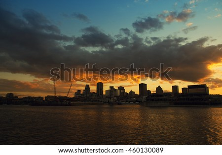 Beautiful sunset on downtown Montreal city in Canada - stock photo
