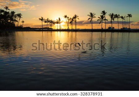 Beautiful sunset on Hawaiian beach, Big Island - stock photo