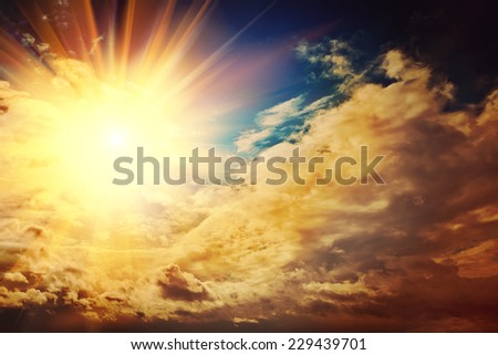 beautiful sunset on mistery sky instagram stile - stock photo