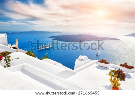 Beautiful sunset on Santorini island, Greece. Magnificent landscape with sea view - stock photo