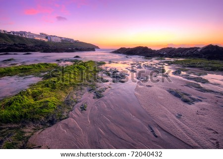 Beautiful sunset on the beach in Newquay, UK - stock photo