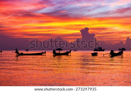 beautiful sunset on the beach. Krabi, Thailand - stock photo