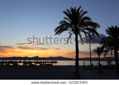 Beautiful sunset on the beach, L'Arenal, Balearic Islands, Majorca (Mallorca), Spain