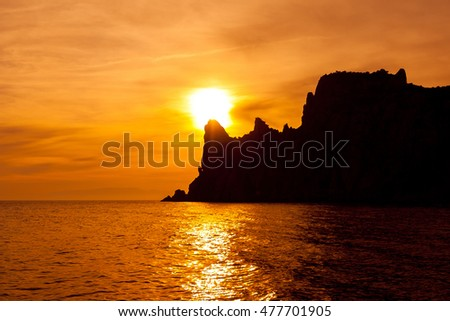 Beautiful sunset on the Black Sea. Crimea, Ukraine