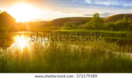 beautiful sunset on the Volga River Russia - stock photo