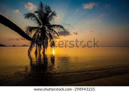 Beautiful sunset on tropical island Koh Phangan in Thailand. Asian beach landscape.