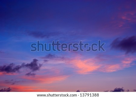 Beautiful Sunset or Sunrise Sky with Dark and Light Clouds - stock photo