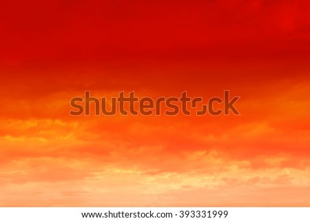 Beautiful sunset. Orange sunset sky with clouds. - stock photo
