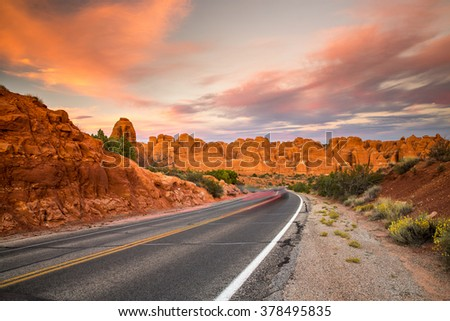 Beautiful sunset over Arches National Park, Utah.
