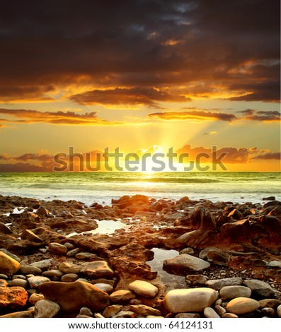 Beautiful sunset over Atlantic Ocean. Canary Islands. - stock photo
