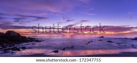 Beautiful sunset over beach in California - stock photo