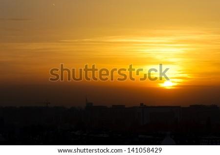 Beautiful sunset over Belgrade - stock photo