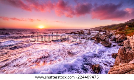Beautiful sunset over California coast - stock photo
