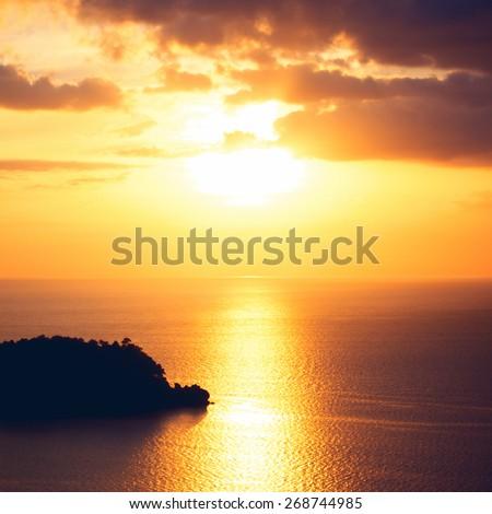 beautiful sunset over calm sea, Koh Lanta, Thailand - stock photo