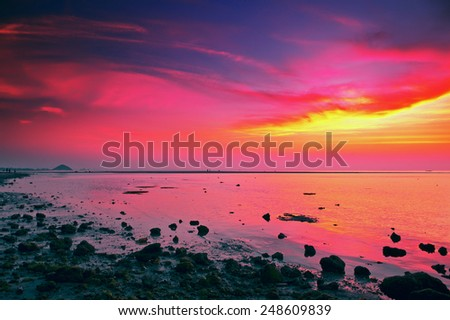 beautiful sunset over calm sea, samui, thailand - stock photo