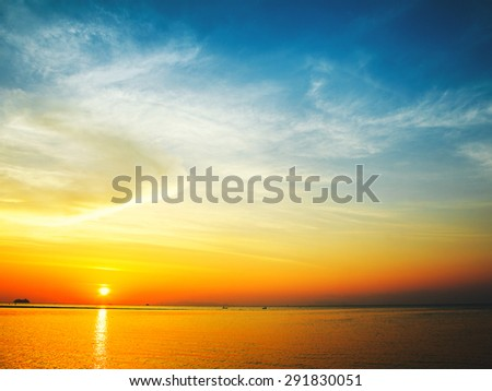 beautiful sunset over calm sea, samui, thailand - stock photo