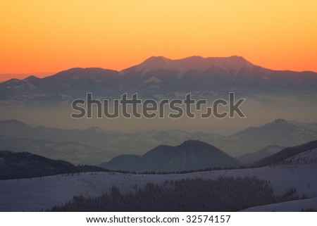 Beautiful sunset over Carpathian mountains