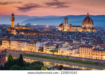 Beautiful sunset over Cathedral of Santa Maria del Fiore (Duomo), Florence, Italy - stock photo