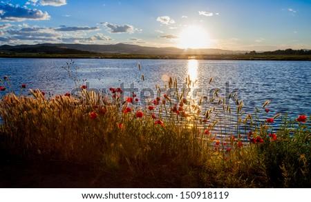 Beautiful sunset over lake in Kochani Macedonia - stock photo