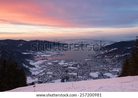 Beautiful sunset over lake Tegernsee photographed from mount Wallberg, Bavaria, Germany - stock photo