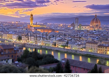 Beautiful sunset over river Arno in Florence, Italy, HDR - stock photo