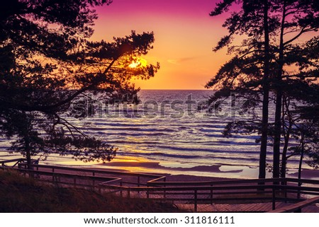 Beautiful sunset over sea - stock photo