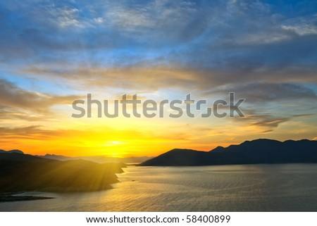 Beautiful sunset over sea, Greece - stock photo