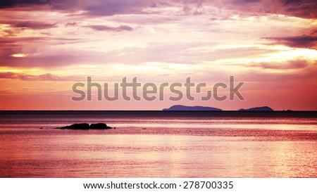beautiful sunset over sea, koh lanta, thailand - stock photo