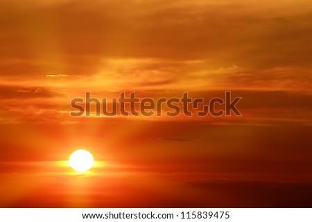 beautiful sunset over the horizon - stock photo