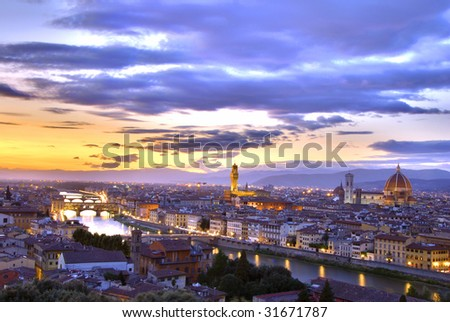 Beautiful sunset over the river Arno in Florence, Italy, HDR - stock photo