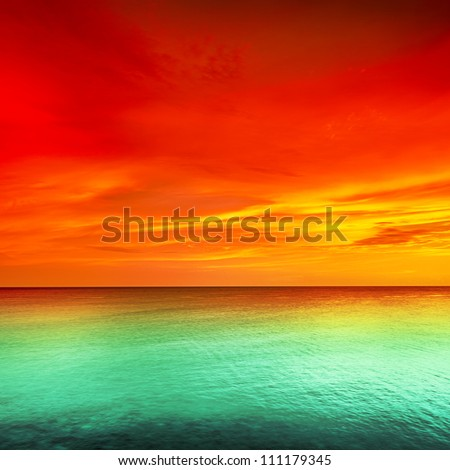 Beautiful sunset over the sea - stock photo