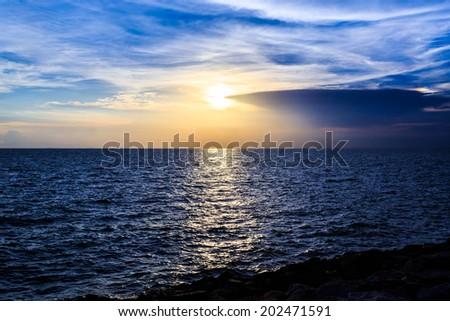 Beautiful sunset over the sea - stock photo