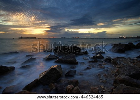 beautiful sunset over the sea during summer day